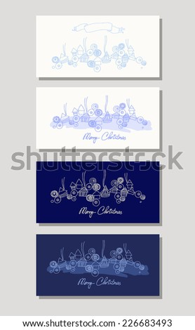 Set of Christmas Cards. Greeting cards with Christmas and New Year holidays. Winter landscape. Vector illustration. - stock vector