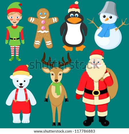 set of christmas characters - stock vector