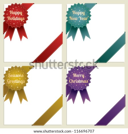 set of christmas corner ribbons with seasonal messages, four variations - stock vector