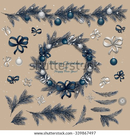 Set of christmas decorations: balls, ribbons, stars and abstract elements. Christmas wreath. Christmas pine twigs and spruce branches. Christmas border with holiday decorations. Vector, EPS 10. - stock vector