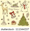 Set of Christmas design elements in retro style - stock vector