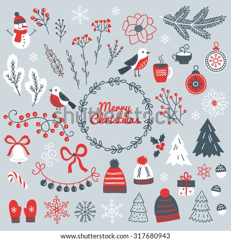 Set of Christmas design elements - snowman, berry, branches, bullfinch, ball, garland, wreath, bell, bow, poinsettia, acorns, fir trees, mittens, snowflakes, gift and hat. Perfect for greeting cards - stock vector