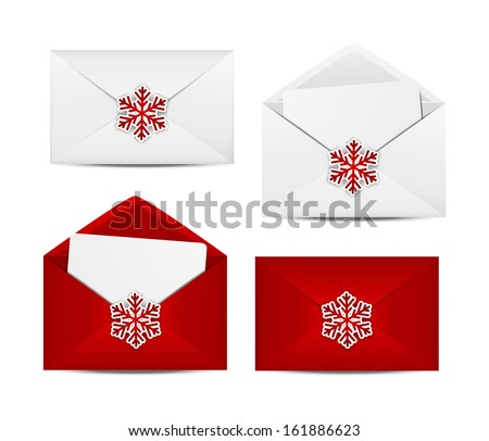 Set of Christmas envelope icons - stock vector