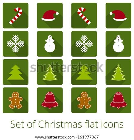 Set of Christmas flat icons - stock vector