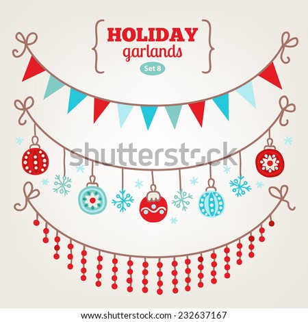 Set of Christmas garlands with triangle flags, snowflakes, balls and beads. Perfect for greeting cards, headers, vignettes, Christmas backgrounds. - stock vector