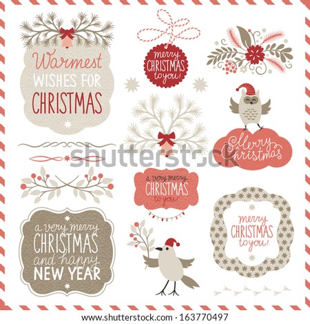 Set of Christmas graphic elements - stock vector