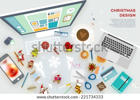 Set of Christmas Holiday Icons: Santa Claus, Snowman, Mitten, Sugar Cane, Xmas Tree, Snowflake. Mobile Phone, Computer, Laptop and other Office Elements. Blurred Christmas Ball at the Phone Wallpaper. - stock vector