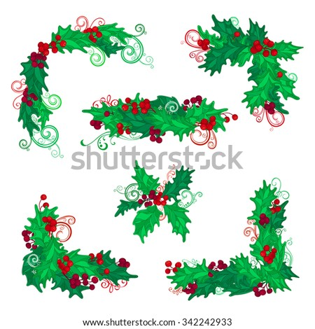 Set of Christmas holly berries design elements. Vector vintage corners, page decorations and dividers. Isolated on white background. - stock vector