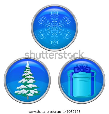 Set of Christmas icons buttons, holiday symbols, isolated on white background. Eps10, contains transparencies. Vector - stock vector