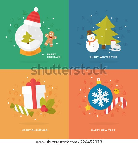 Set of Christmas Icons. Flat Style. Xmas Tree, Snow Globe and Snowman, Gift Box and Candy Cane, Gingerbread Man and other Winter Holidays Vector Elements. - stock vector