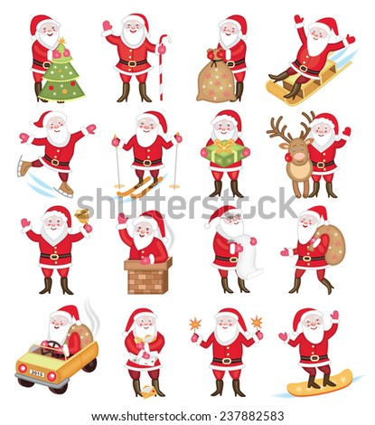 Set of christmas icons with Santa Claus - stock vector