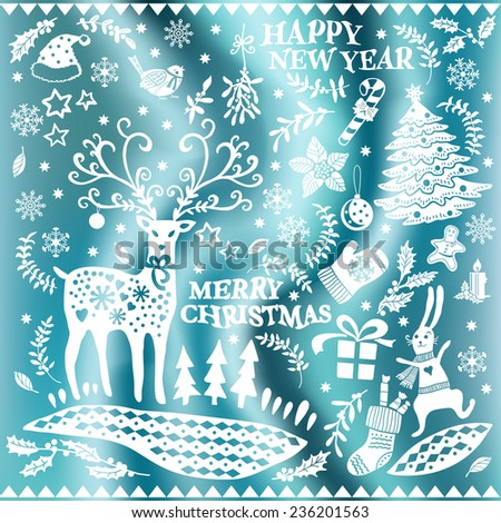 Set of Christmas images on a silk background.  Hand-drawing graphics. Set of Christmas icons. Elements for design of cards, invitations and other print projects. - stock vector