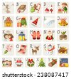 Set of christmas items, characters and situations in alphabet. - stock vector