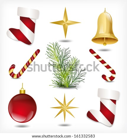 Set of Christmas items. Vector illustration - stock vector