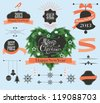 Set of Christmas labels, heart shape wreath - stock vector