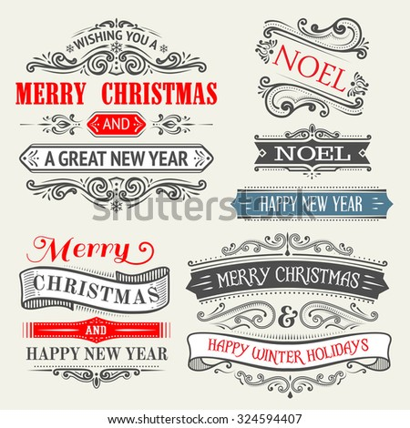 set of christmas labels with banners and frames - stock vector