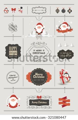 Set of Christmas ornaments and decorative elements, vintage banner, ribbon, labels, frames, badge, stickers. Vintage Santa Claus - stock vector