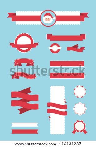 Set of christmas ornaments and decorative elements, vintage frames, labels, stickers. Vector illustration element. Santa claus - stock vector