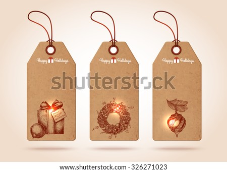 Set of christmas paper tags with hand-drawn christmas symbols - christmas gift, christmas wreath, christmas tree toy. Vector illustration. - stock vector