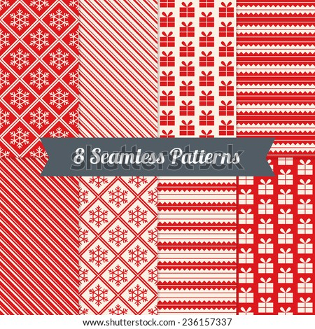 Set of Christmas Patterns with Snowflakes, Gifts, Zigzag lines and Diagonal Stripes in Red and Beige. Perfect for wallpapers, pattern fills, web page backgrounds, textile, wrapping paper  - stock vector