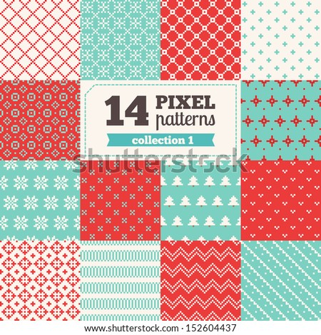 Set of Christmas pixel patterns - stock vector
