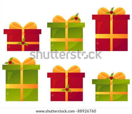 set of 6 christmas presents with berries - stock vector