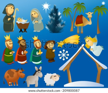 Set of Christmas scene elements  - stock vector