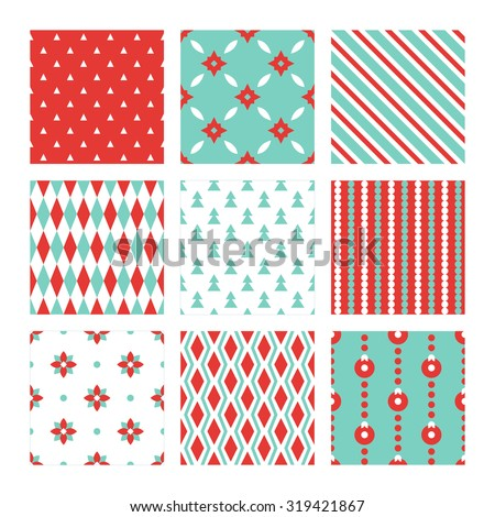 Set of Christmas seamless patterns in Red, Cyan and White. Triangles, Stars, Diagonal Lines, Harlequin, Fir Trees, Stripes, Rhombus and Balls. Perfect for wallpaper, gift paper, greeting cards - stock vector