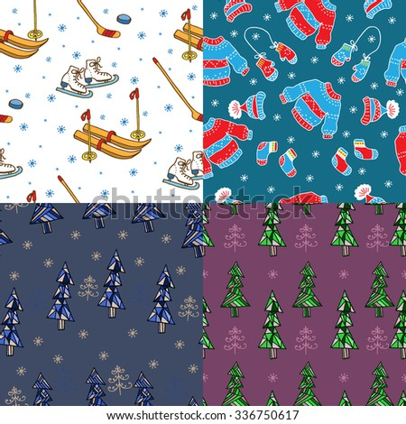 Set of Christmas seamless patterns. Perfect for wallpaper, gift paper, greeting cards. - stock vector