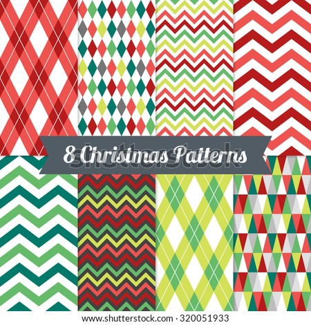 Set of Christmas Seamless Patterns with Chevron, Triangles, Harlequin and Argyle in Red, Green and White. Perfect for wallpapers, pattern fills, background, Christmas and New Year greeting cards - stock vector