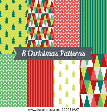 Set of Christmas Seamless Patterns with Triangles, Fir Trees and Stripes in Red, Green and White. Perfect for wallpapers, pattern fills, background, textile, Christmas and New Year greeting cards - stock vector