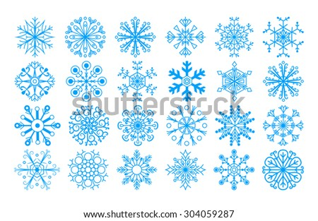 Set of Christmas snowflakes. Template chistmas icons. - stock vector