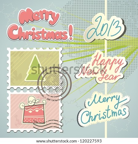 Set of Christmas stamps and decorations - stock vector