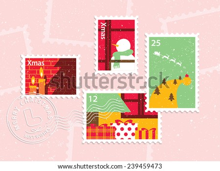 Set of christmas stamps in fresh style - stock vector