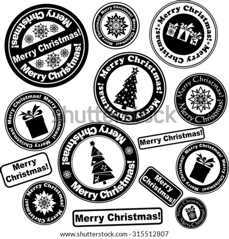 Set of Christmas stamps isolated on White background. Vector illustration - stock vector