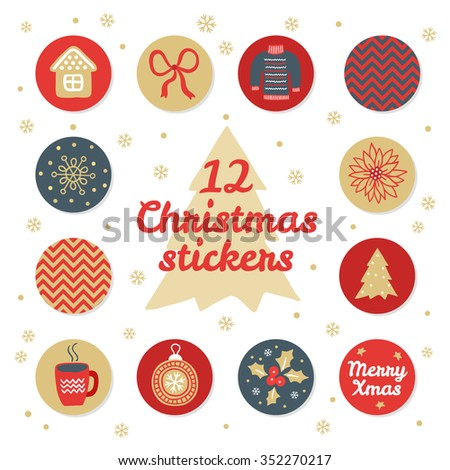 Set of 12 Christmas stickers. House, bow, sweater, chevron pattern, snowflake, flower, fir tree, cup of tea, ball, poinsettia, Merry Xmas. Perfect for greeting cards and letters. Vector illustration - stock vector