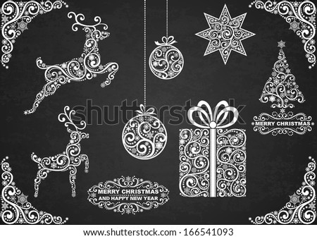 Set of christmas symbols, hand drawn with chalk on the black board, EPS 8. - stock vector