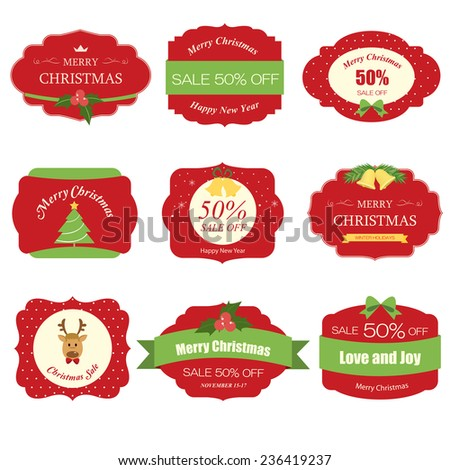Set of christmas tag label and background - stock vector
