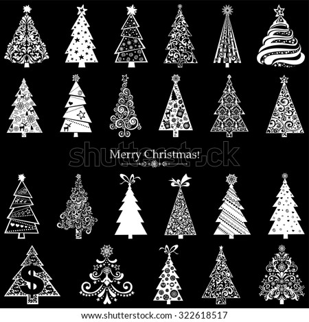 Set of Christmas Trees isolated on black background. 23 designs in one file. Vector illustration - stock vector