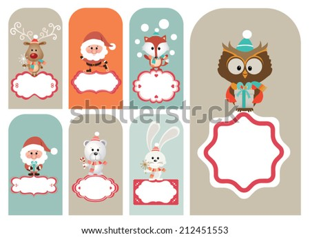 Set of christmas vector elements, vintage banner, ribbon, labels, frames, badge, stickers. Vector Christmas element. New Year.Vintage santa claus, ornaments and decorative element - stock vector