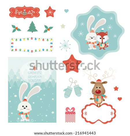 Set of christmas vector elements, vintage banner, ribbon, labels, frames, badge, stickers. Vector Christmas element. New Year.Vintage christmas character, ornaments and decorative element - stock vector