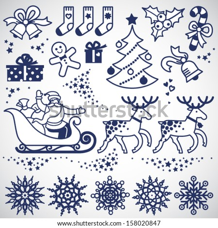Set of christmas vector elements, winter holidays icons collection. It can be used for decorating of invitations, cards, decoration for bags and clothes. Ornament for brochures, magazines, leaflets. - stock vector