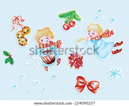 set of Christmas watercolor vector design elements - stock vector