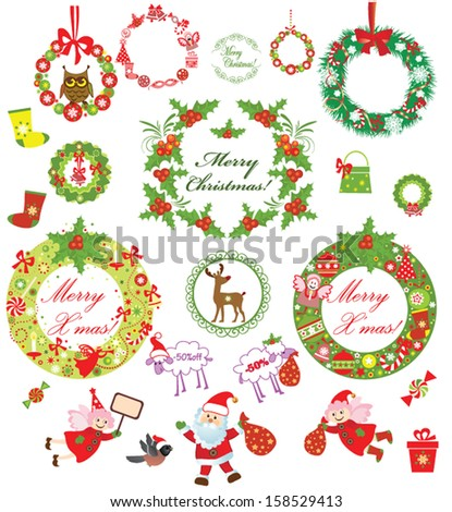 Set of christmas wreath - stock vector
