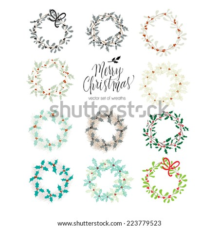 Set of Christmas wreaths - stock vector