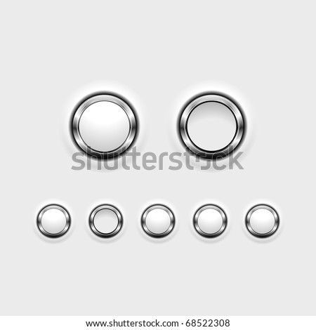 Set of chrome effect buttons showing on/off positions. - stock vector