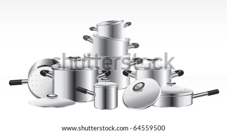set of chrome-plated pans - stock vector