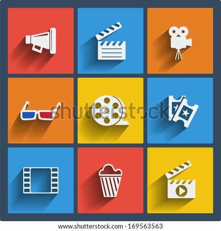 Set of 9 cinema vector web and mobile icons in flat design. Symbols of loudspeaker, clapboard, camera, 3d glasses, reel, ticket, frame, popcorn. - stock vector