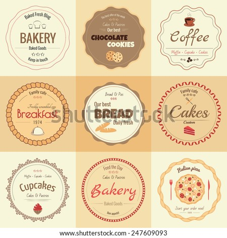 Set of 9 circle bakery labels, warm colors - stock vector