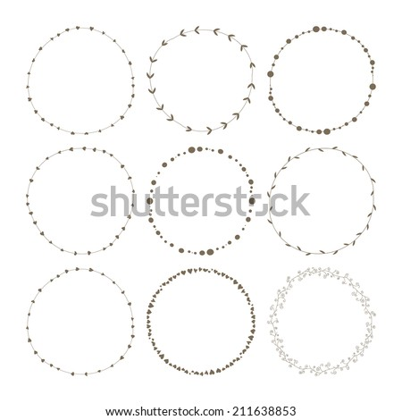 Set of 9 circle cute hand drawn frames on the white background - stock vector